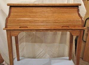 Oak, Stained Golden Oak, Rolled-Top Desk